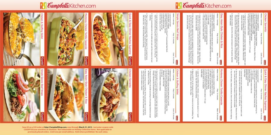 2013 Campbell's Kitchen Calendar Recipes