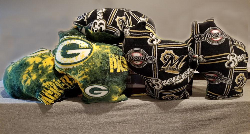 Wisconsin Milwaukee Brewers and Green Bay Packers Pillows