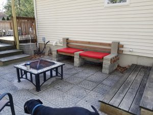 bench with cushions
