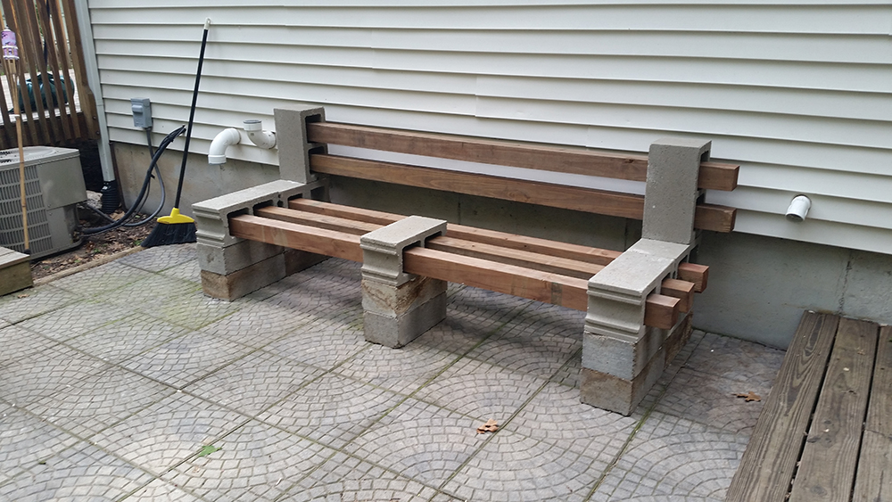 finished patio bench