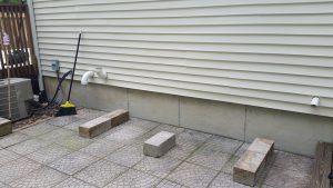 patio bench blocks foundation