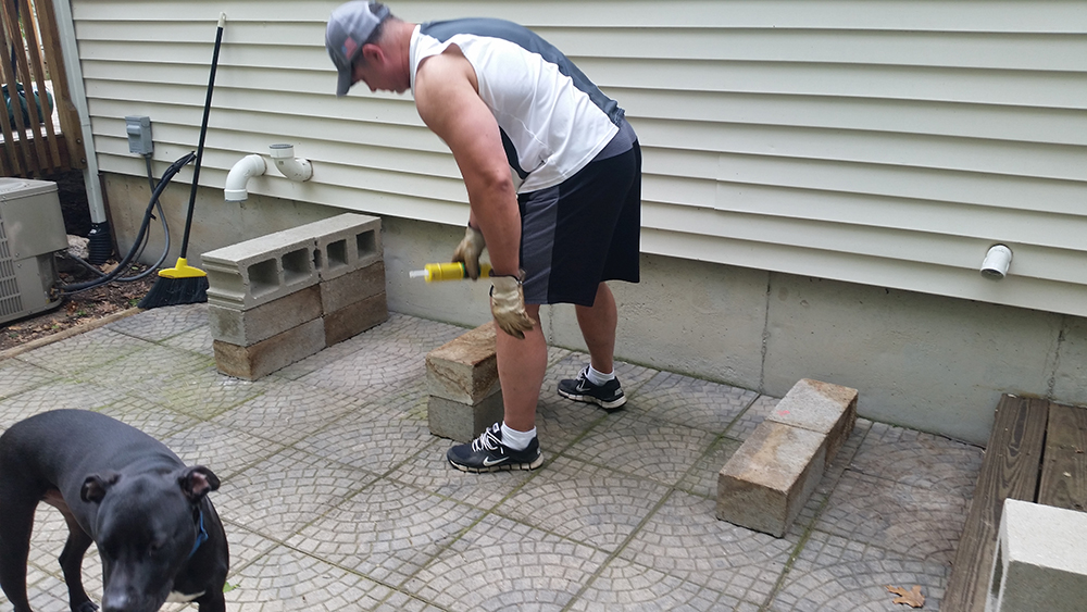patio bench blocks foundation Greg using liquid nails