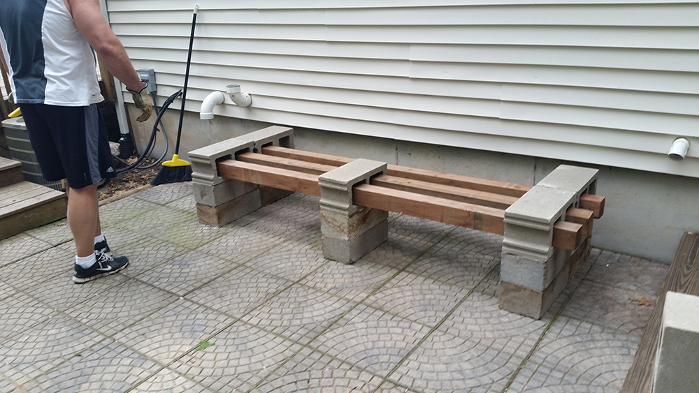 patio bench with cedar 4 x 4s